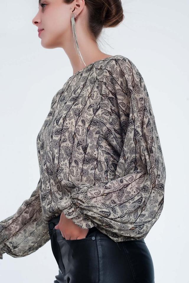 Camisa de manga comprida bege com estampa de cashmere