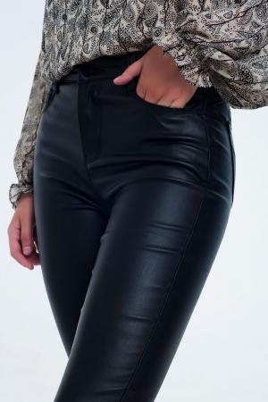 Calças super skinny com cintura alta pretas push up