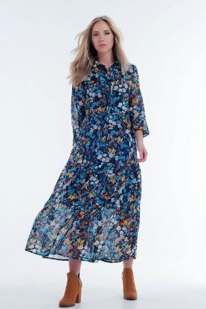 Vestido de camada transparente em design floral azul