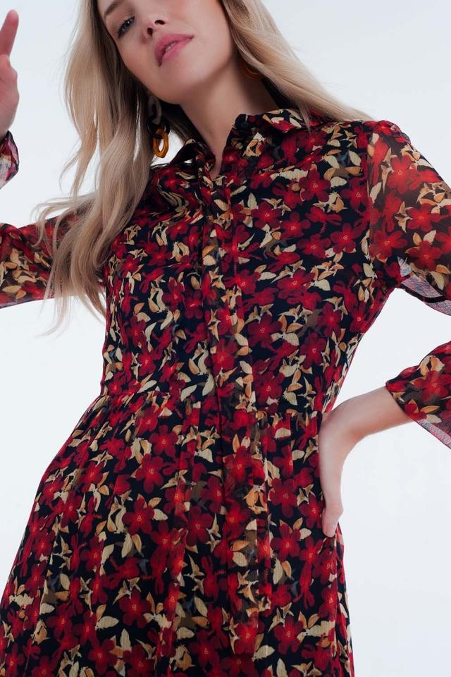 Vestido de dia floral longo vermelho com nó no pescoço