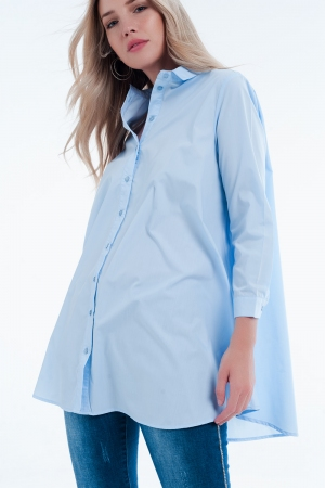 Vestido Camisa de popeline azul longa