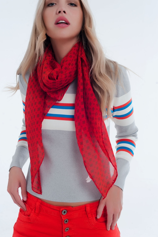 Red geometric printed scarf