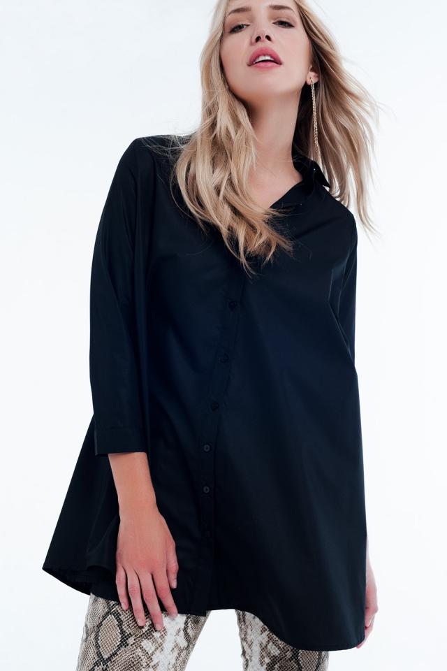 Camisa de popeline preta longa