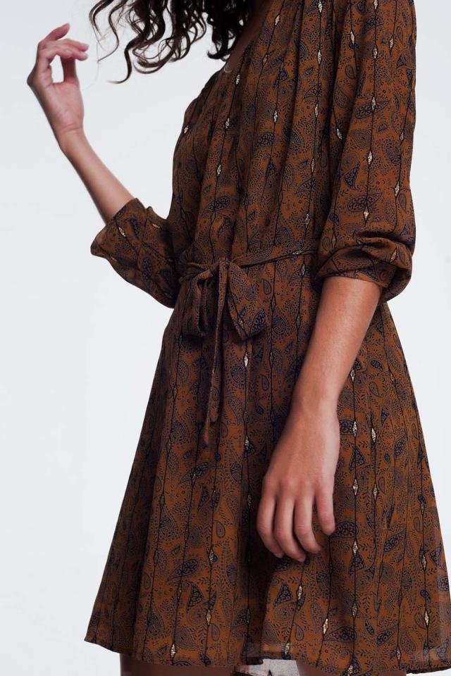 vestido com cinto em jacquard impressão