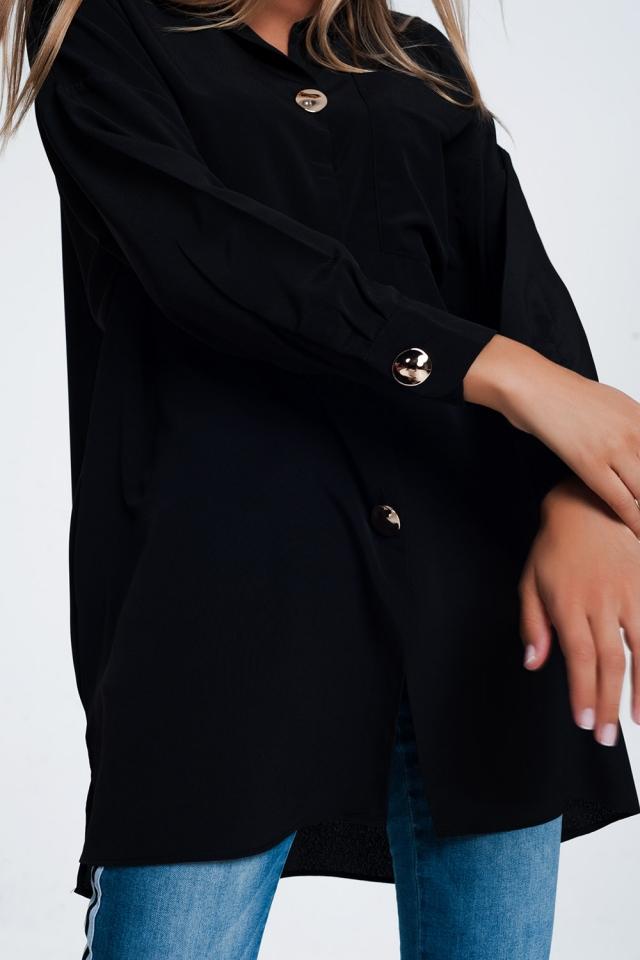 Camisa preta de mangas compridas extragrande com botões