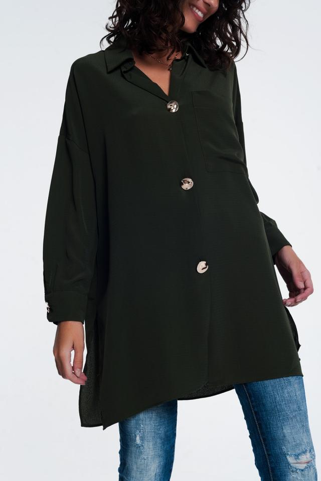 Camisa cáqui de mangas compridas extragrande com botões
