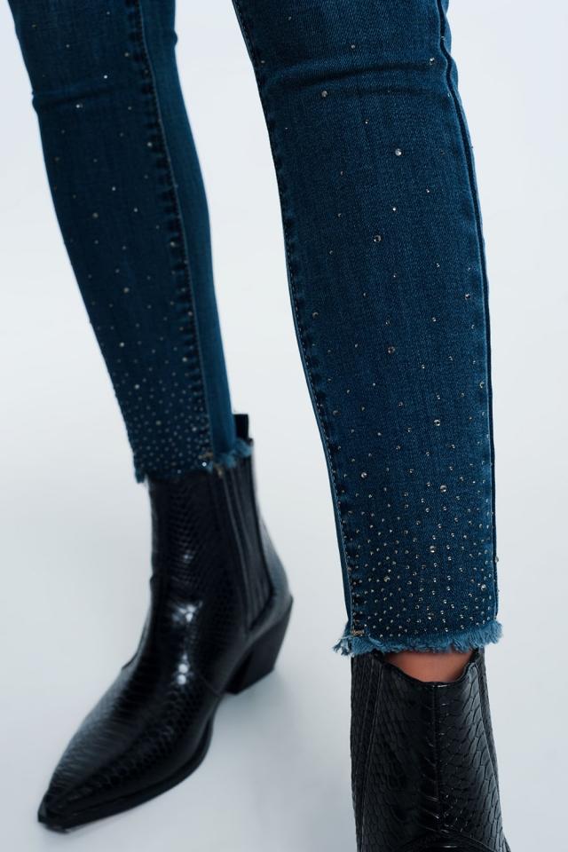 calças de ganga com detalhes strass