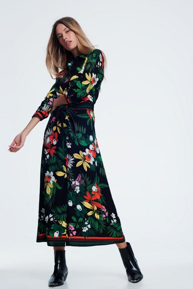 Vestido de camisa comprida com flores