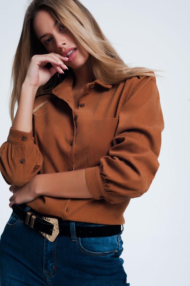 Camisa de tecido com nervuras marrom