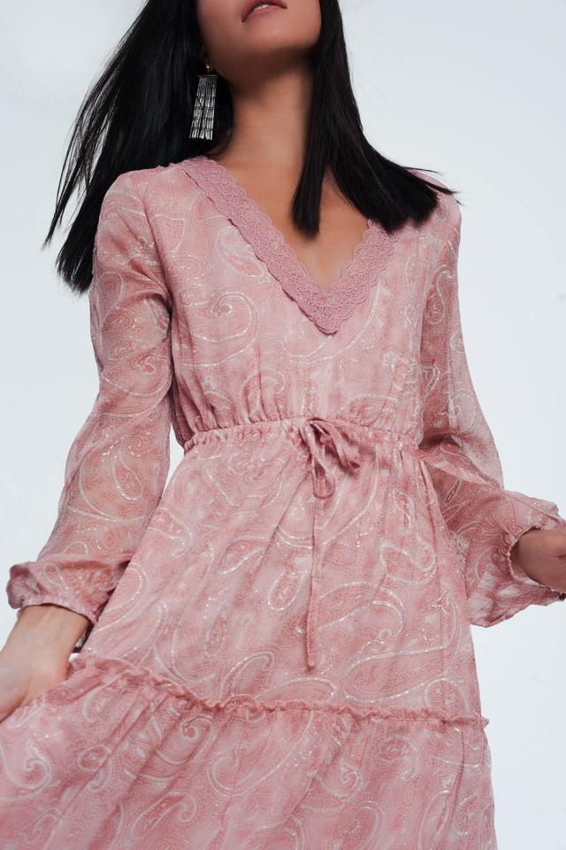 vestido estampado maxi paisley com manga volume em rosa