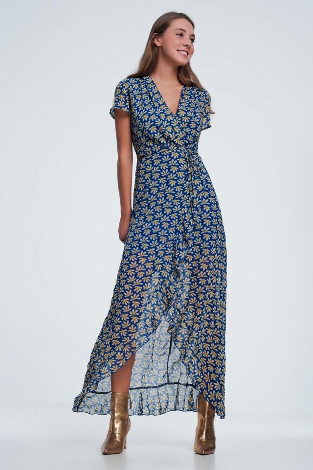 vestido midi Azul com estampado floral e babados
