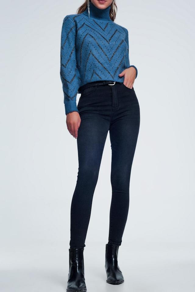 Calças de ganga  de cintura alta com lavagem leve