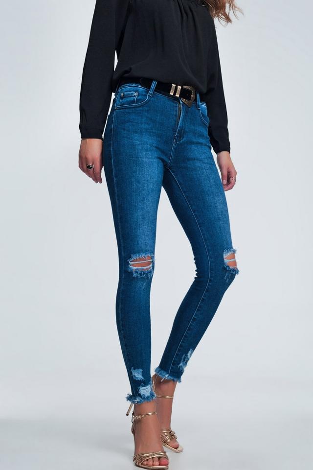 Calças de ganga com cintura alta com franjas