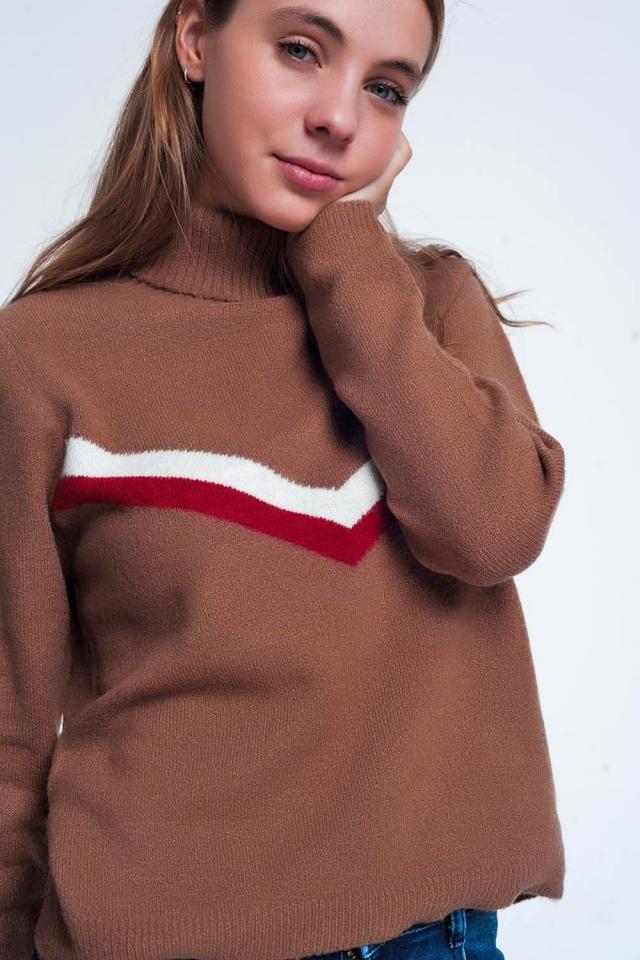 Suéter marrom com padrão espinha de peixe