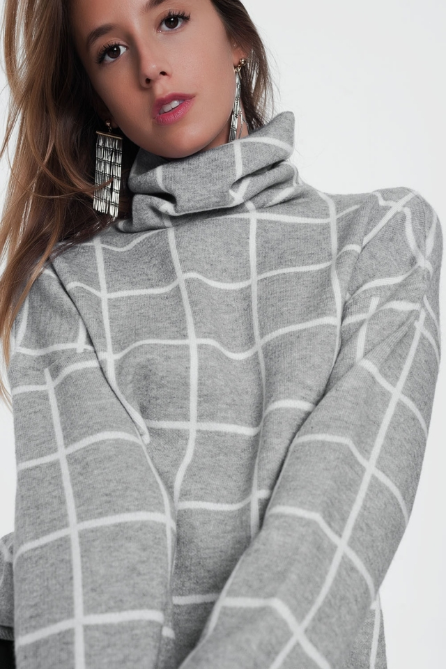 Checkered gray turtleneck sweater
