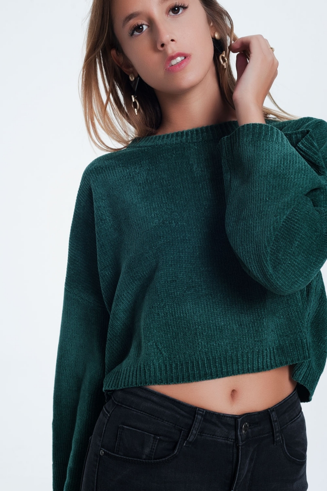 Camisola curta com manga larga em verde