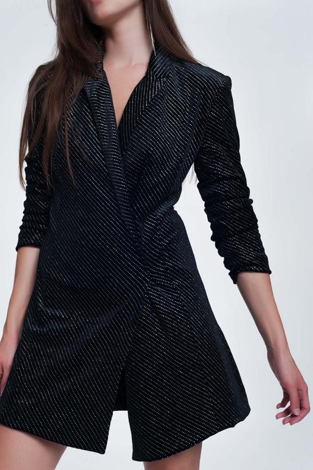 Vestido estilo blazer preto com brilho