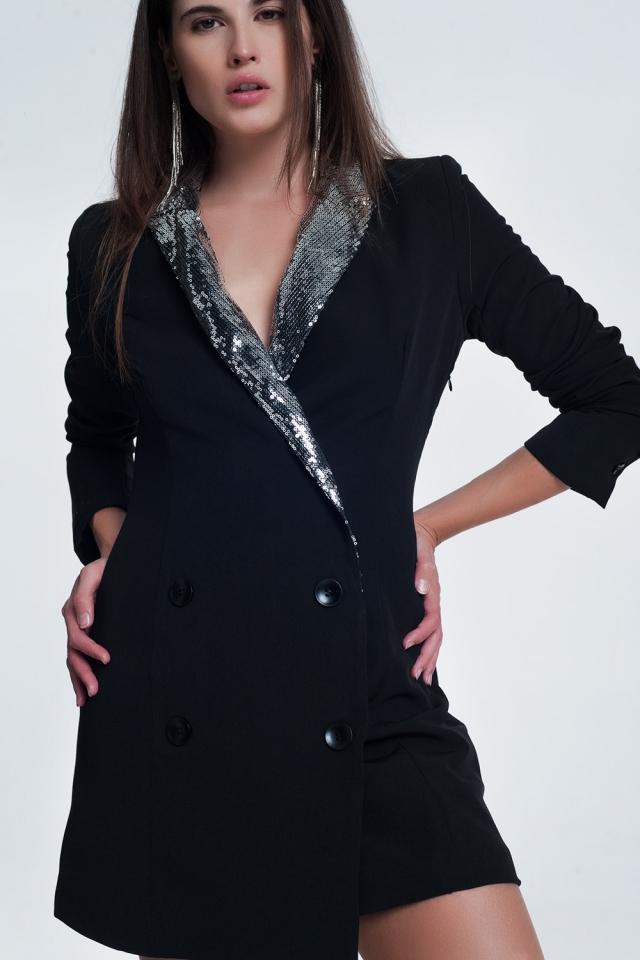 Vestido blazer estilo smoking com ornamentos