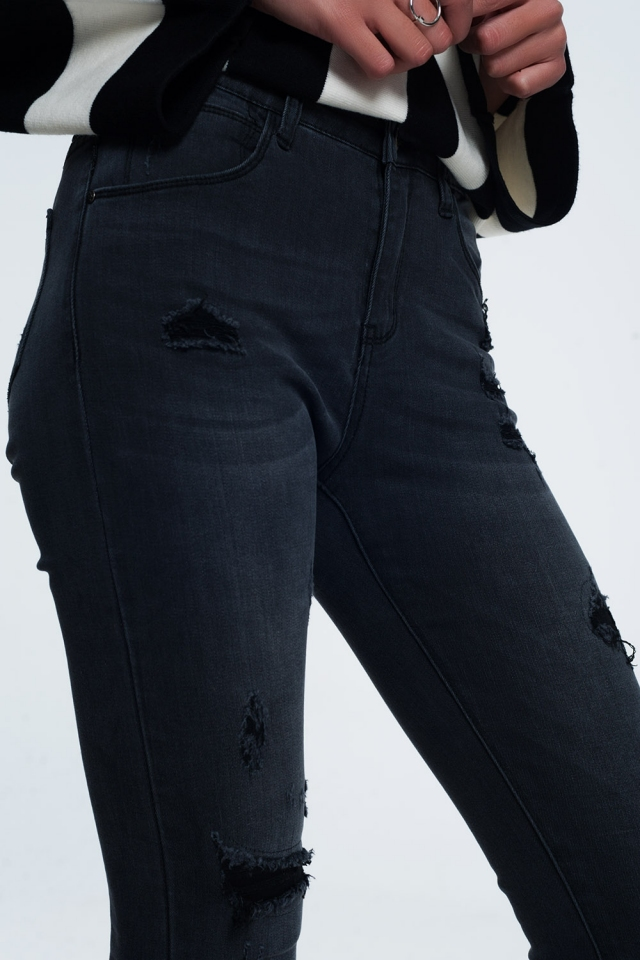 Jeans skinny angustiado em preto