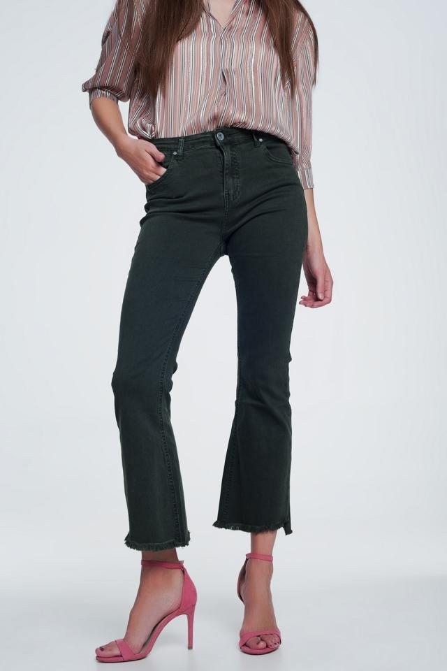 Calças de ganga de cintura alta com fundo cru cáqui
