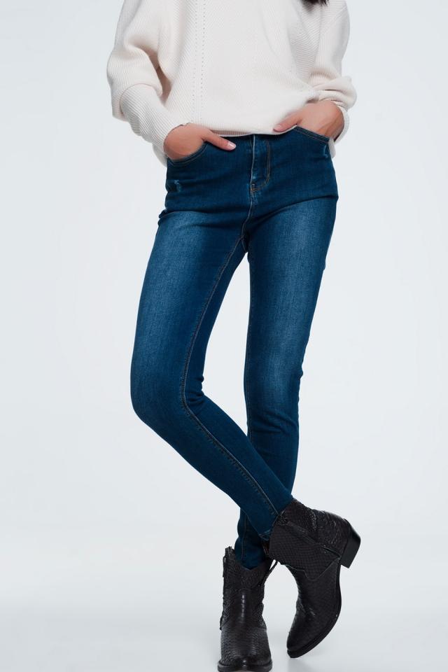 dark wash distressed jeans