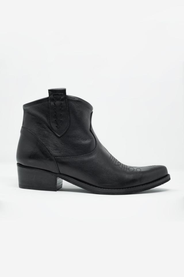 Botins de couro preto estilo western