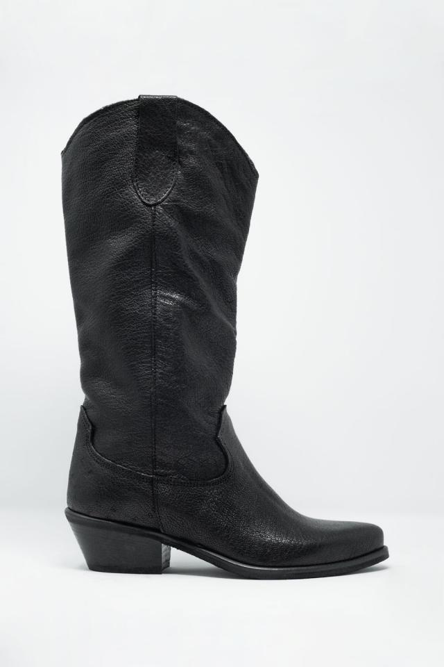 Botas de estilo western sem fecho em preto