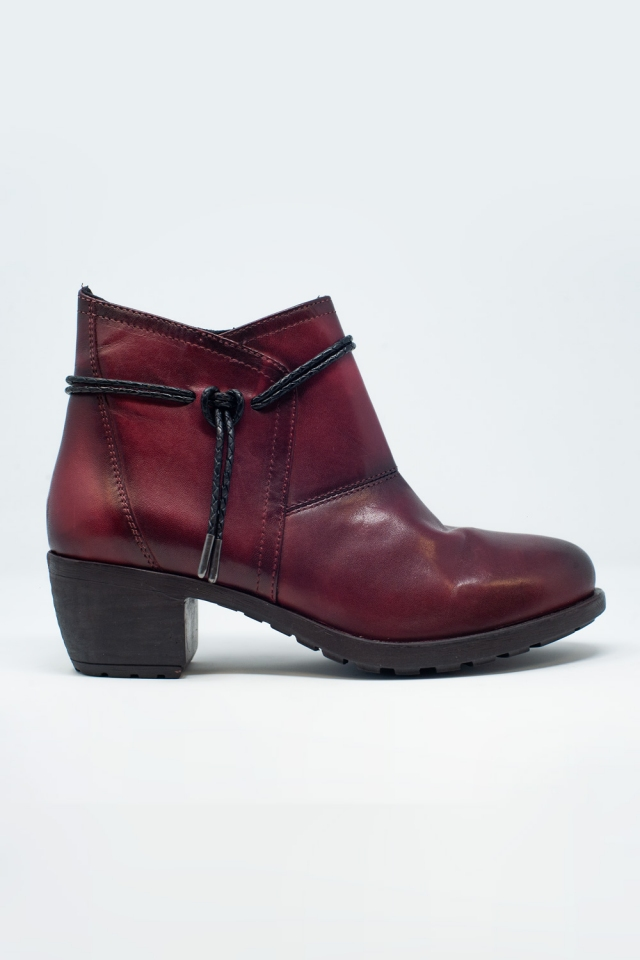 Dark brown blocked mid heeled ankle boots with round toe