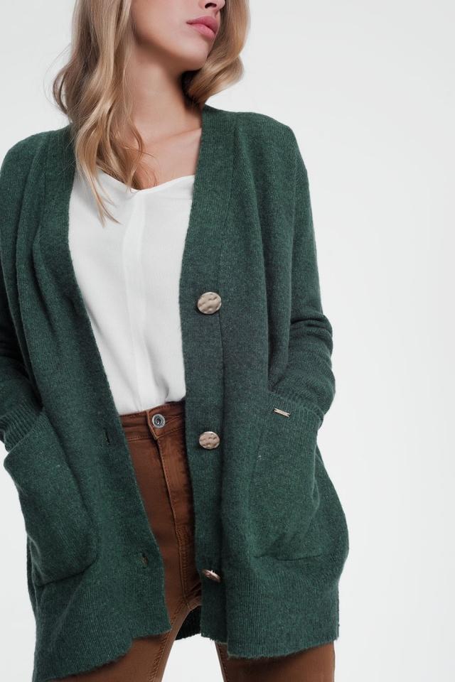 Casaco cardigan verde de mangas compridas