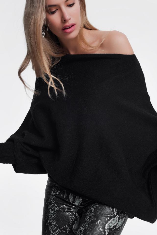 Camisola preta assimétrica