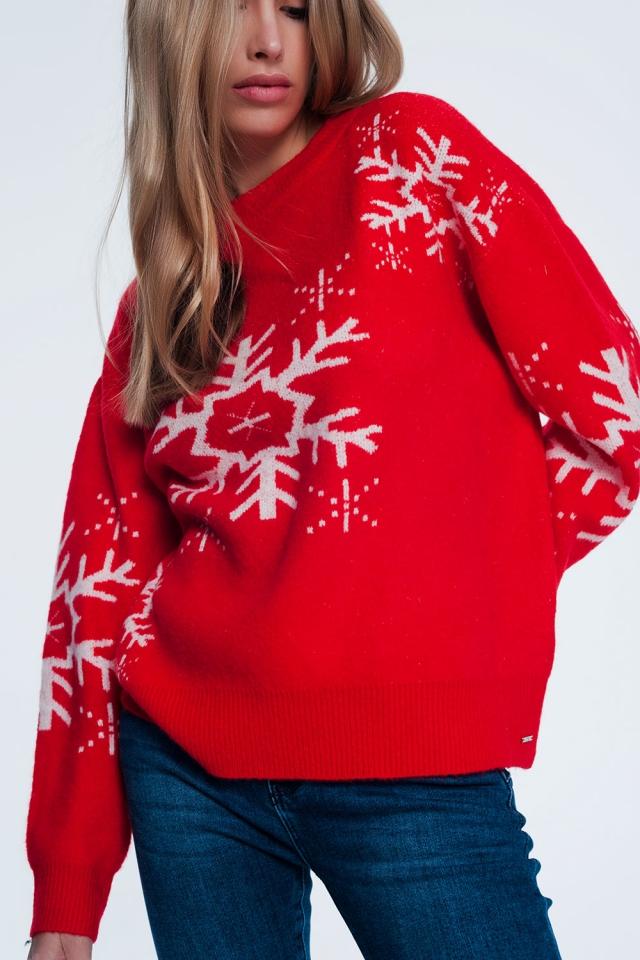 Camisola de Natal com flocos de neve