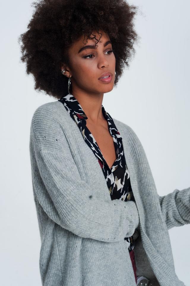 Casaco de lã com angora cinza macio mangas compridas