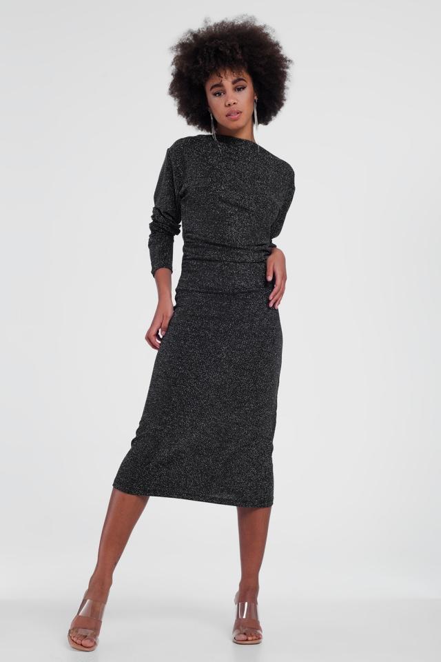Vestido midi de mangas compridas metálico