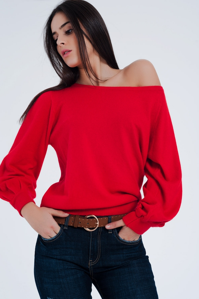 Camisola Bardot em vermelho