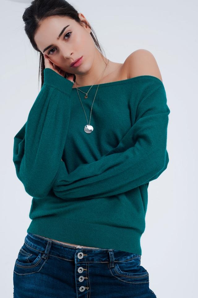 Camisola Bardot em verde