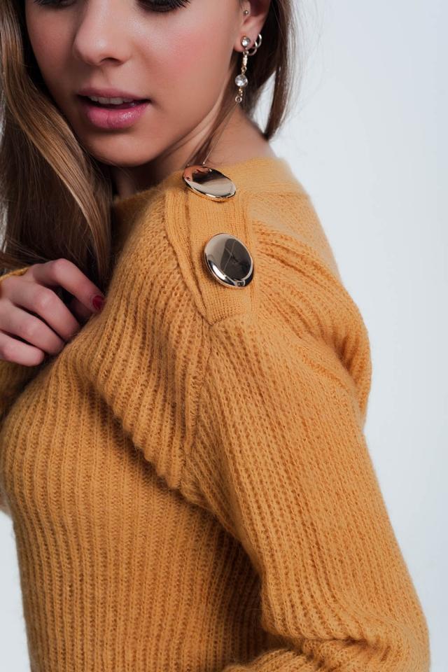Camisola de botão cor de mostarda