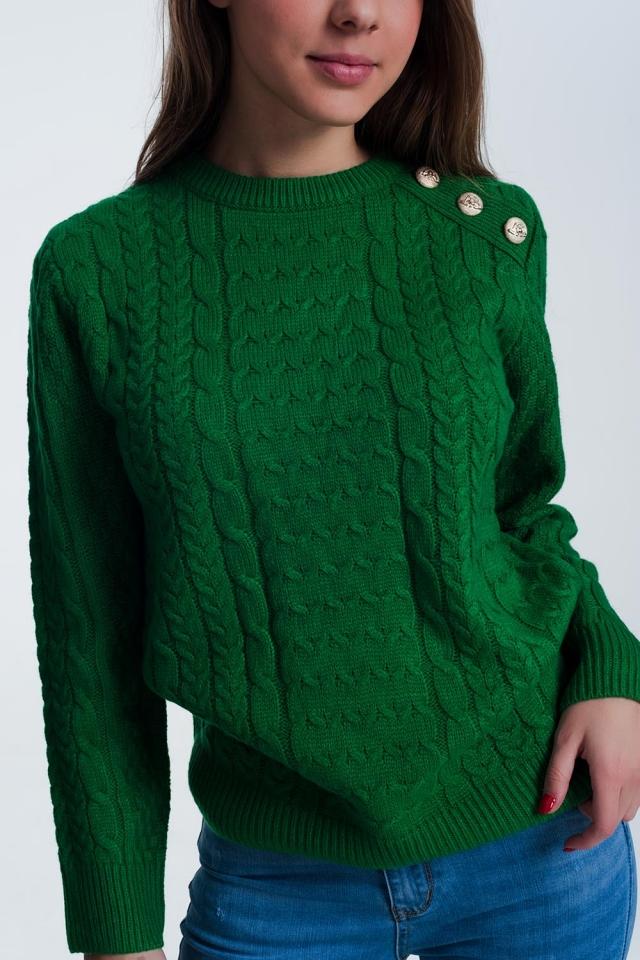 Camisola de malha texturizada com gola redonda em verde