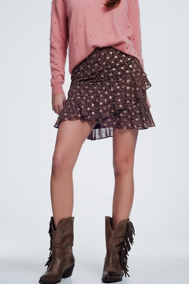 Mini-saia com estampa floral e babados em marrom