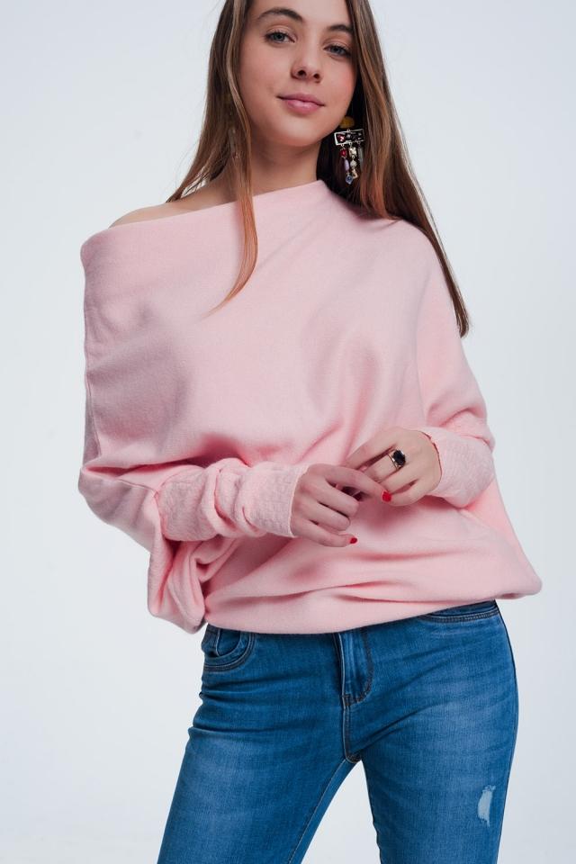 Camisola rosa assimétrica