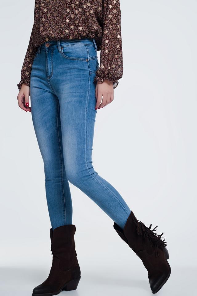 Calças de ganga  de cintura alta azul muito magros