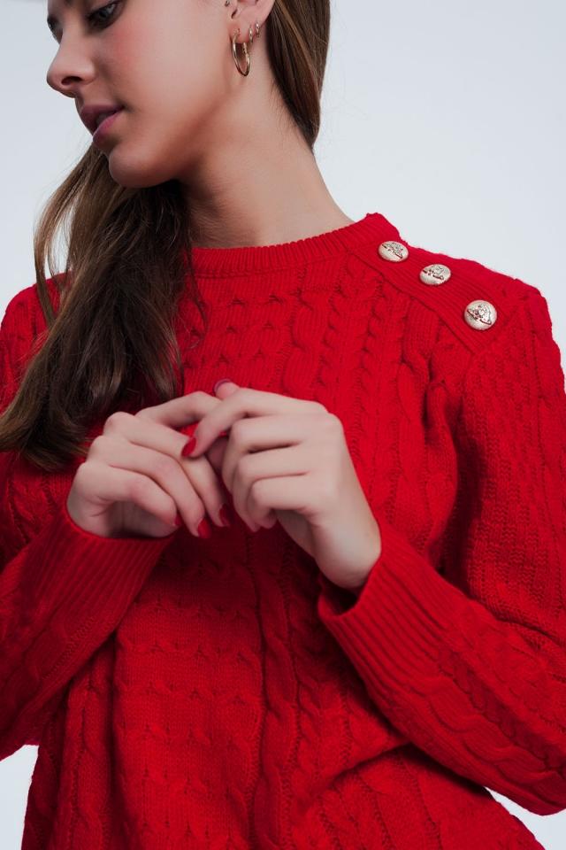 Camisola de malha texturizada com gola redonda em vermelha