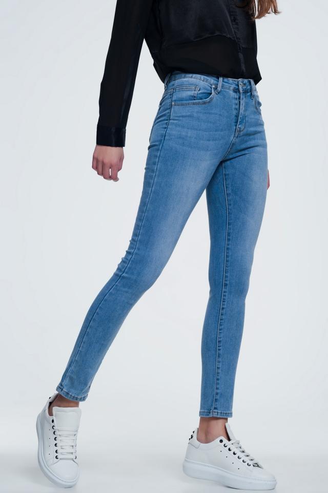 calças de ganga de perna reta em azul médio