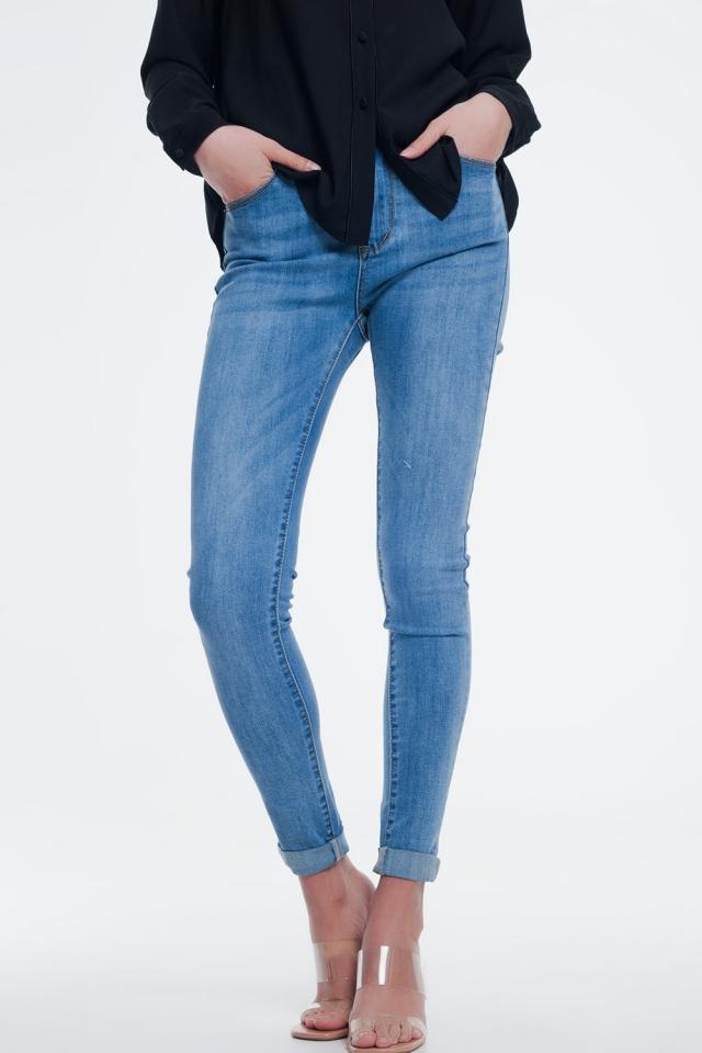 calças de ganga skinny de cintura alta em lavagem azul claro