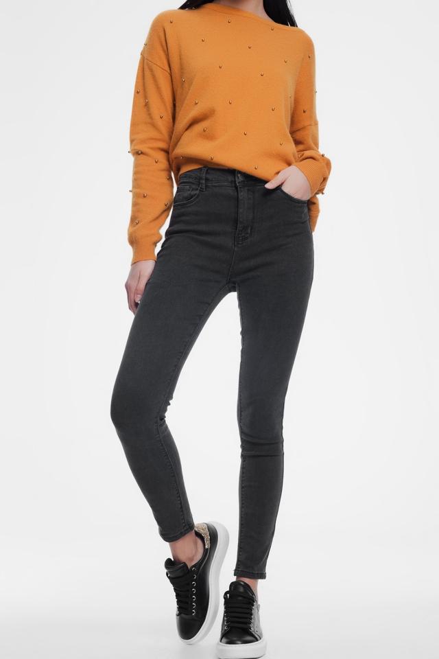 calças de ganga  skinny cinza escuro