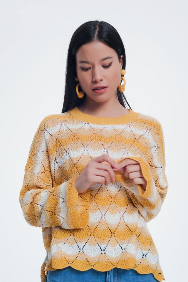 Camisola de malha listrada amarela