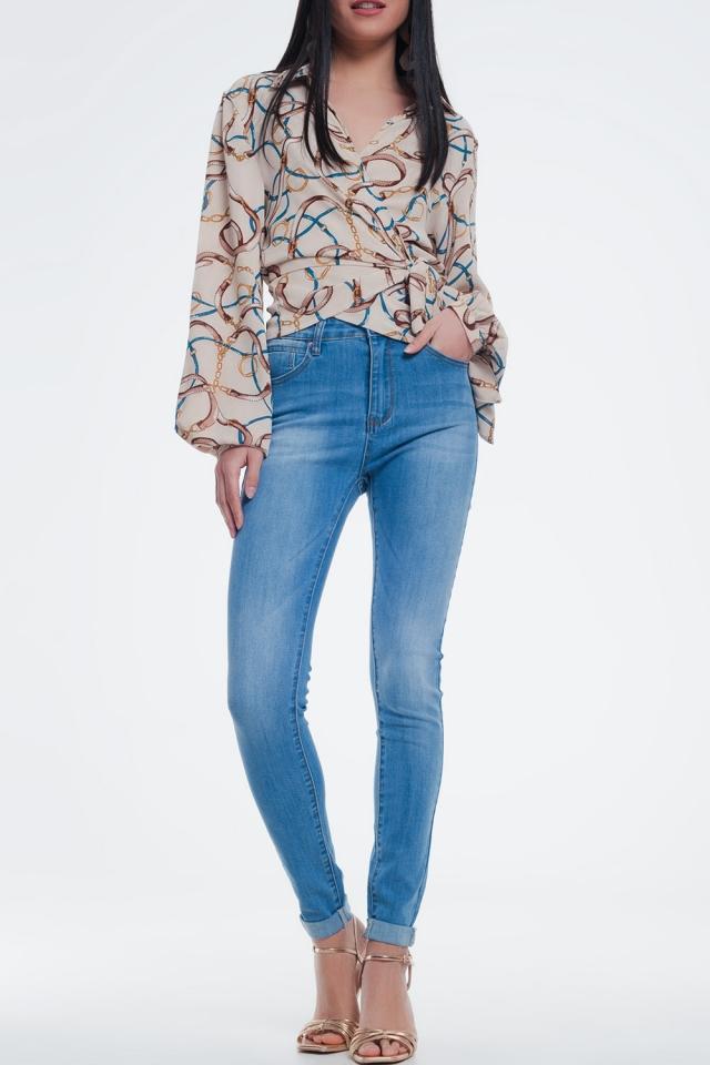 calcas de ganga skinny azul médio com lavagem