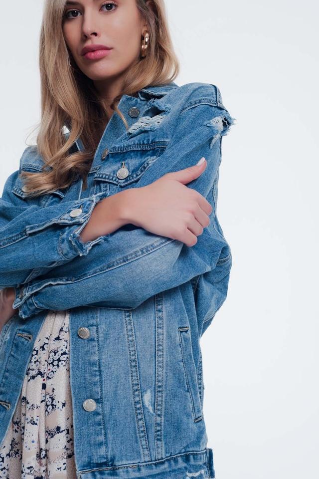 Jaqueta calcas de ganga girlfriend em azul desgastado