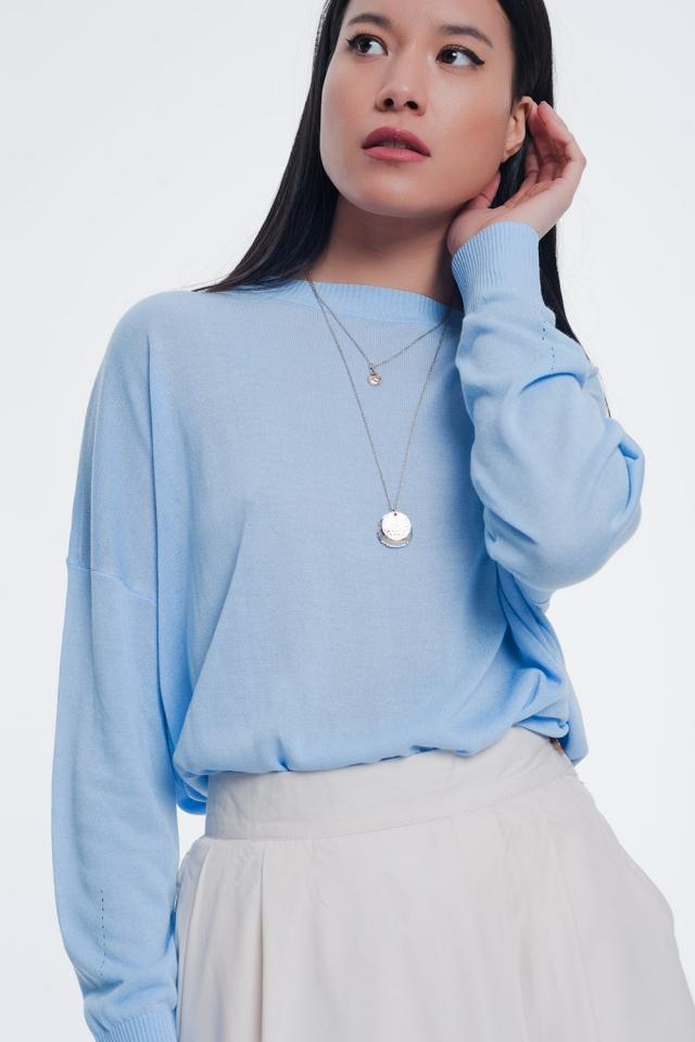 Camisola de malha fina com gola redonda em azul