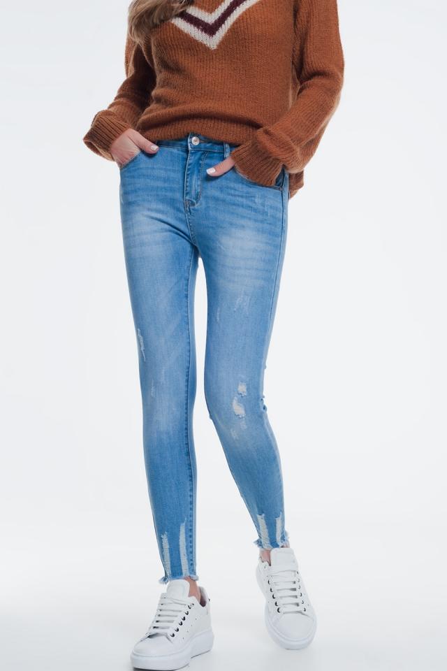 calcas de ganga skinny de lavagem azul com abrasões