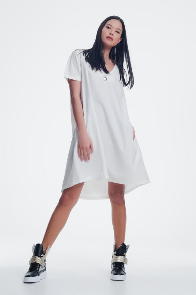 Cream shiny dress with v neck